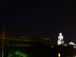 The illuminated clock tower of Arlington High School on the night of September 5, 2010.