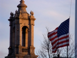 The flag flying at half mast in remembrance of Pearl Harbor Day at Town Hall. December 7, 2010.