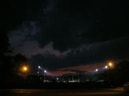 A soccer game under the lights at Warren A. Pierce Field on August 10, 2006.