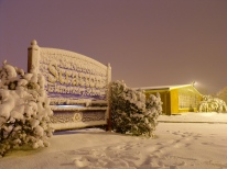 Stratton School covered in snow on an unseasonable autumn night. October 30, 2011.
