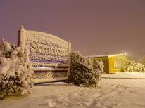 Stratton School covered in snow on an unseasonable autumn night. October 30, 2011.