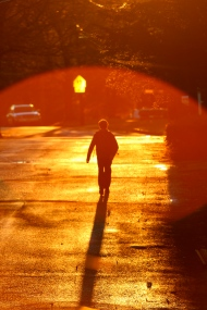 A child walks to school up Hemlock Street the week before Winter Vacation. December 22, 2011.