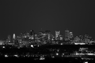 The view of Boston from Skyline Park just after moonrise. April 6, 2012.