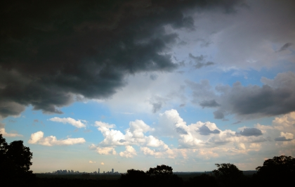 A thunderstorm moves in over Robbins Farm towards Boston. June 23, 2012.