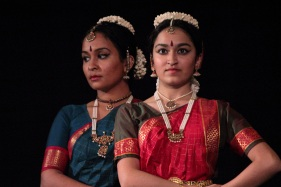 Dancers from the Thillai Fine Arts Academy perform a traditional Indian dance during the closing ceremonies of the Arlington International Film Festival at the Regent Theatre. October 21, 2012.