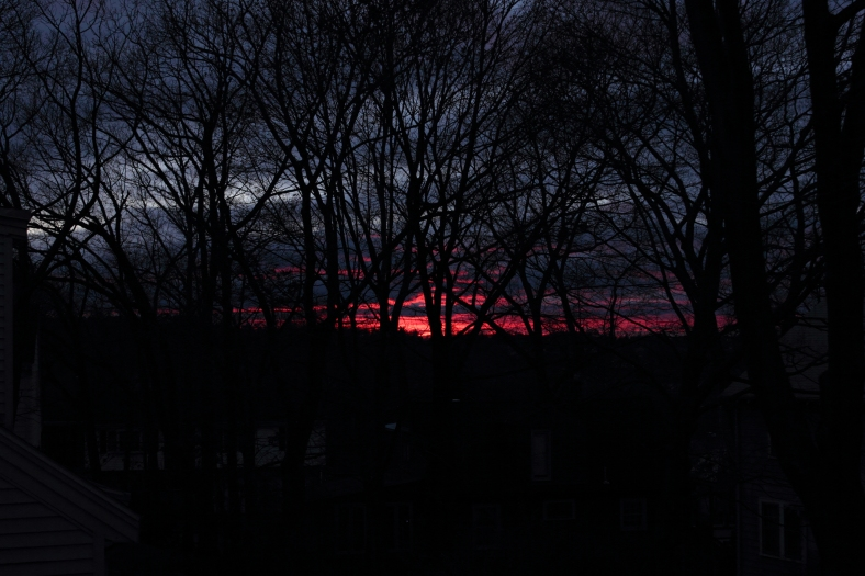 A fiery red sunset over Arlington Heights.December 19, 2012.
