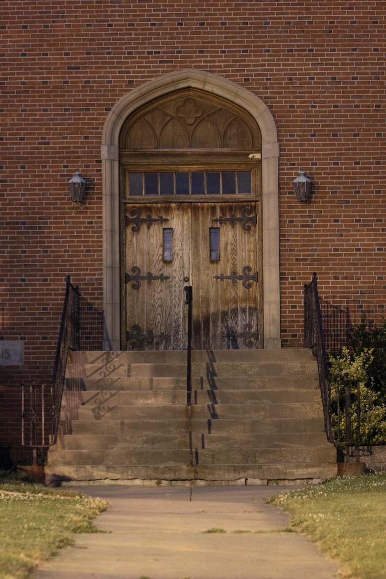 The door to the tower of Trinity Baptist Church on Massachusetts Avenue in East Arlington.June 21, 2012.