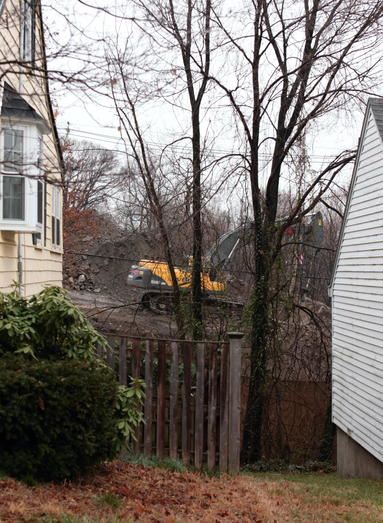 Construction equipment at the former Symmes site as seen from Brattle Street.December 8, 2012.
