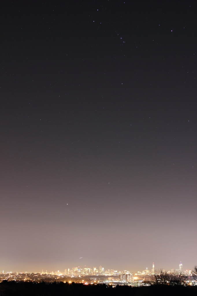 Light pollution from the greater Boston area creeps up into the night sky.December 13, 2012.