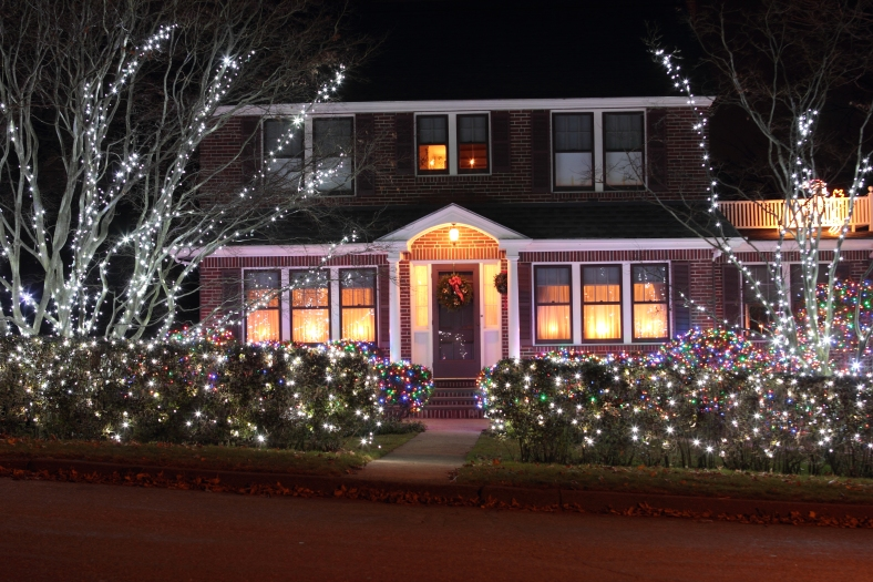 A Hutchinson Road home decorated with festive lights for the holiday season.December 23, 2012.