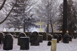 The Whittemore-Robbins House looms over the Old Burying Ground during a snowstorm. December 29, 2012.