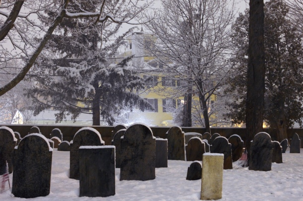 The Whittemore-Robbins House looms over the Old Burying Ground during a snowstorm.December 29, 2012.
