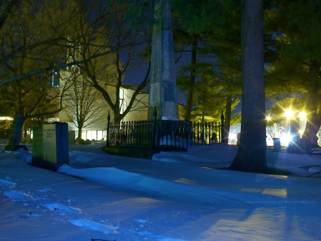 The Patriot Grave monument in the snowbound Old Burying Ground.December 28, 2010.