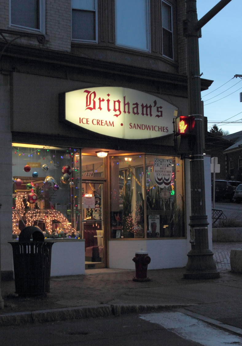 The last Brigham's restaurant in Arlington decorated for the holidays.December 24, 2012.