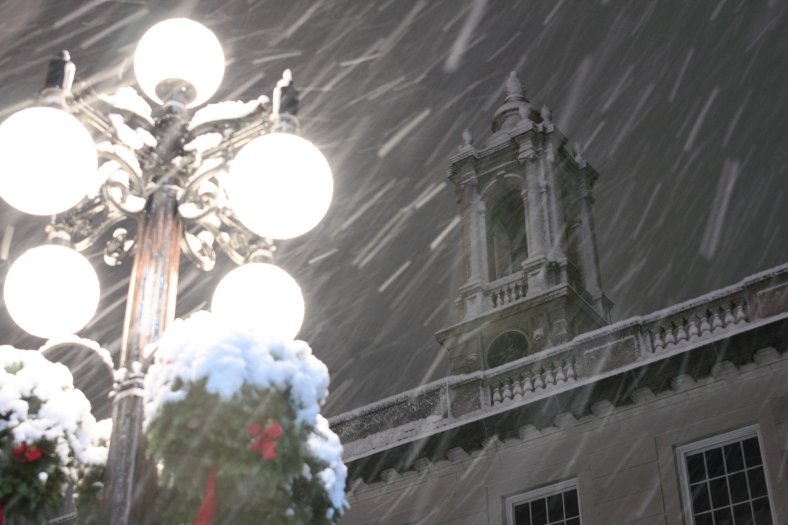 Snow accumulates on Town Hall during an early winter storm.December 29, 2012.