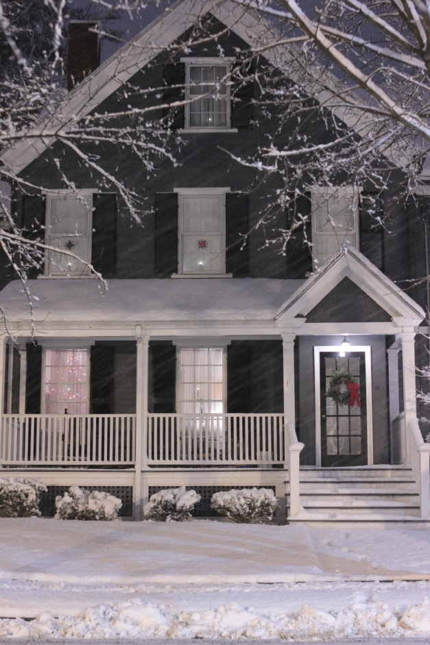 A cozy looking house on Maple Street during a snowstorm.December 29, 2012.
