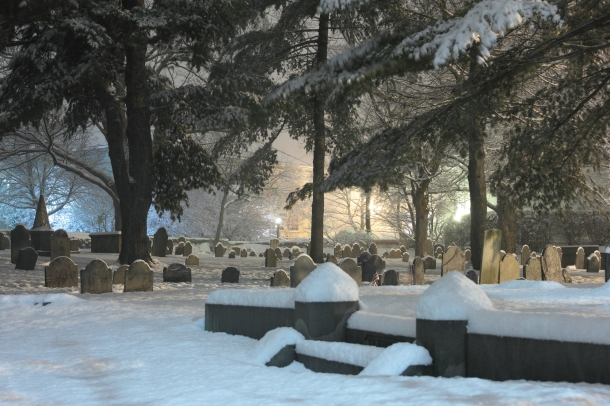 The Old Burying Ground getting buried a little deeper during an early winter storm.December 29, 2012.
