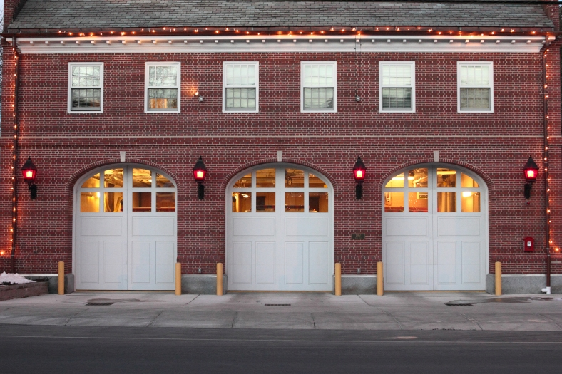 Highland Fire Station on Massachusetts Avenue outlined by a string of lights.January 5, 2013.