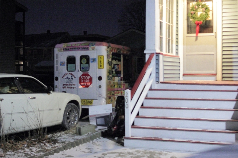 An ice cream truck parked in the driveway of a Broadway home.January 26, 2013.
