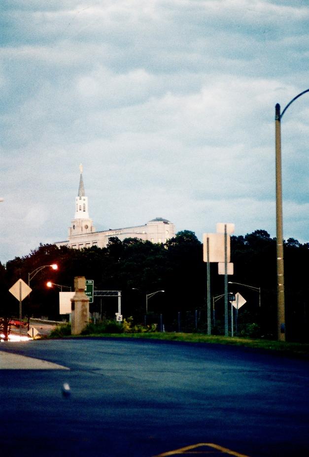 The Boston Mormon Temple in neighboring Belmont as seen from Arlington.July 14, 2011