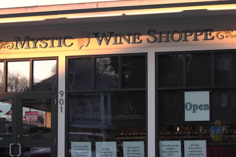 The newly opened Mystic Wine Shop next to the Stop and Shop on Massachusetts Avenue.February 15, 2013.