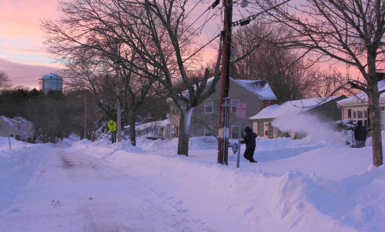 Residents on Mountain Avenue were still digging out from Nemo as the sun set.February 9, 2013.