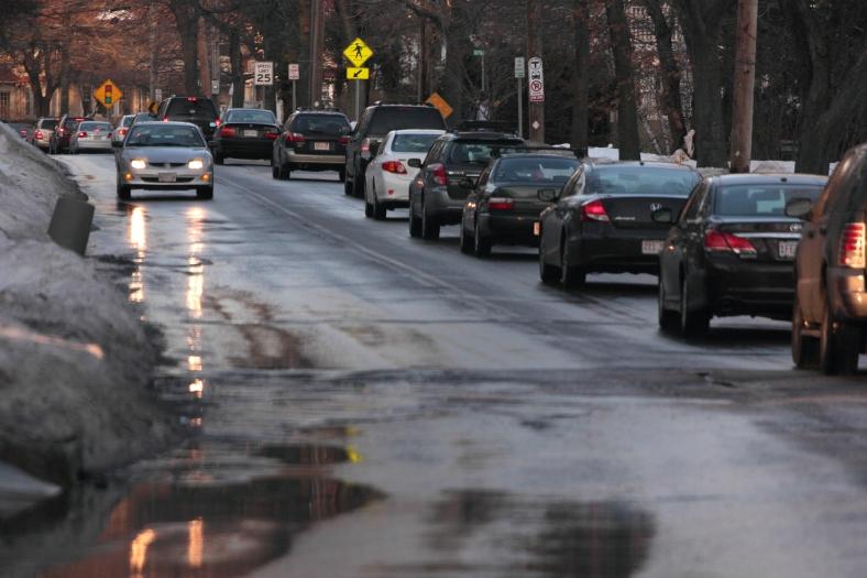 Afternoon traffic on Pleasant Street.February 15, 2013.