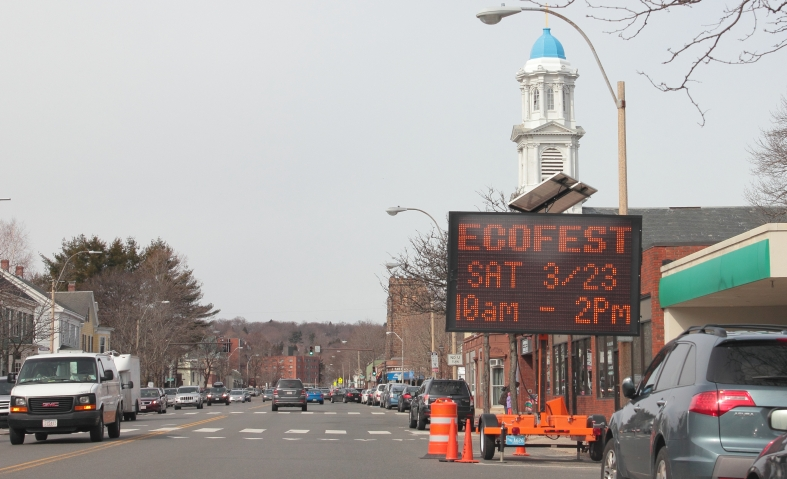 To prevent accusations of hypocrisy, the sign advertising Ecofest is, at least in part, powered by solar panels.March 26, 2013.