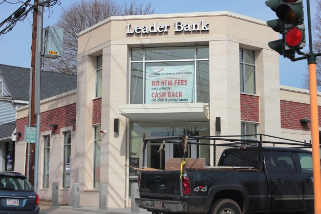 The new Leader Bank branch at the location formerly occupied by Video Horizons.March 16, 2013.