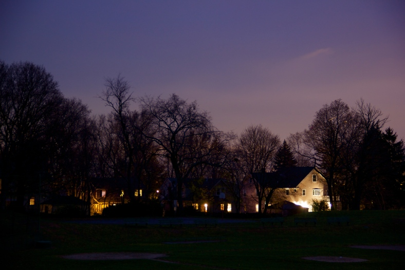 Lights of homes abutting Robbins Farm Park at twilight.November 22, 2011.