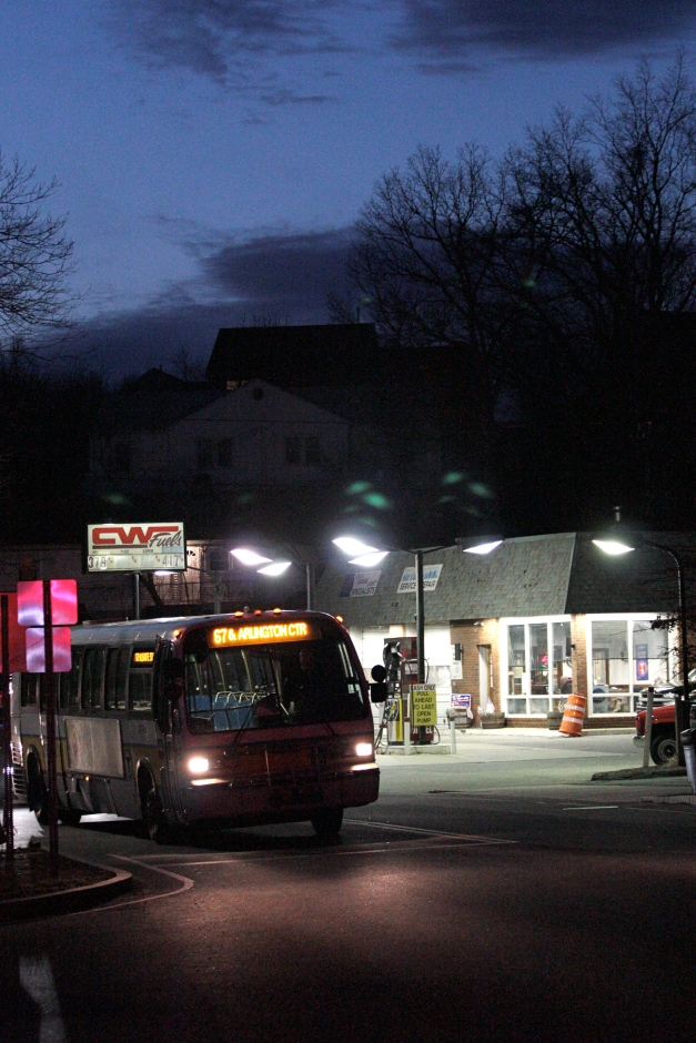 The 67 bus to Alewife Station waits at a light on Summer Street.February 28, 2012.
