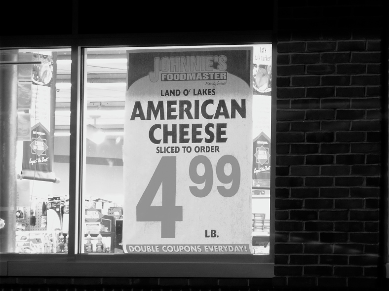 A sign in the window of Johnnies Foodmaster. September 16, 2011.