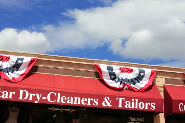 Bunting adorns businesses in Arlington Heights for Patriots' Day weekend. April 13, 2013.