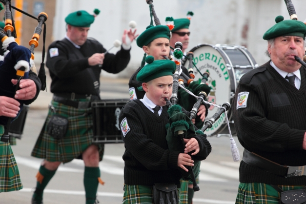Hibernian pipes and drums of Manchester New Hampshire march in the Patriot's Day parade. April 14, 2013.