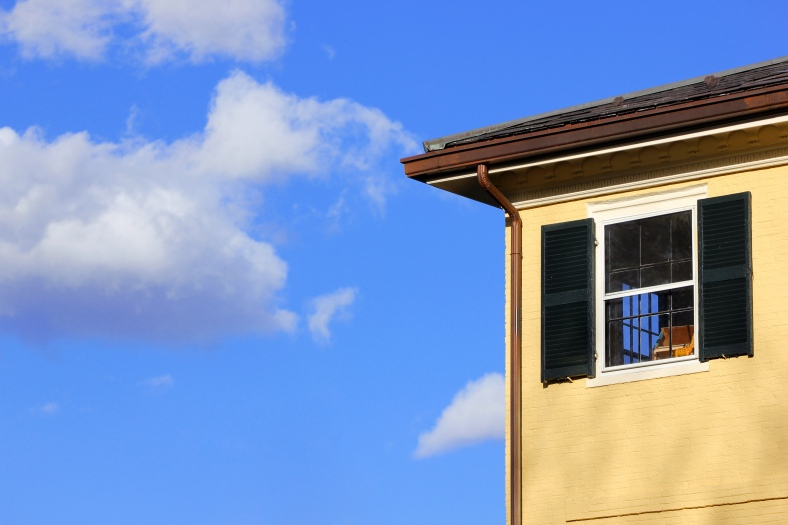 A corner room of the Whittemore-Robbins house against the blue sky.April 4, 2012.