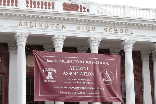 A banner on Arlington High School advertising the Alumni Association. August 10, 2012.