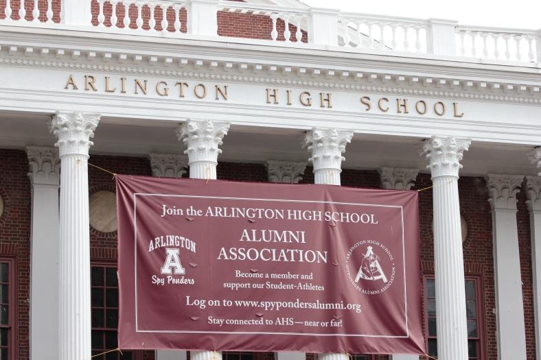 A banner on Arlington High School advertising the Alumni Association. August 10, 2012.