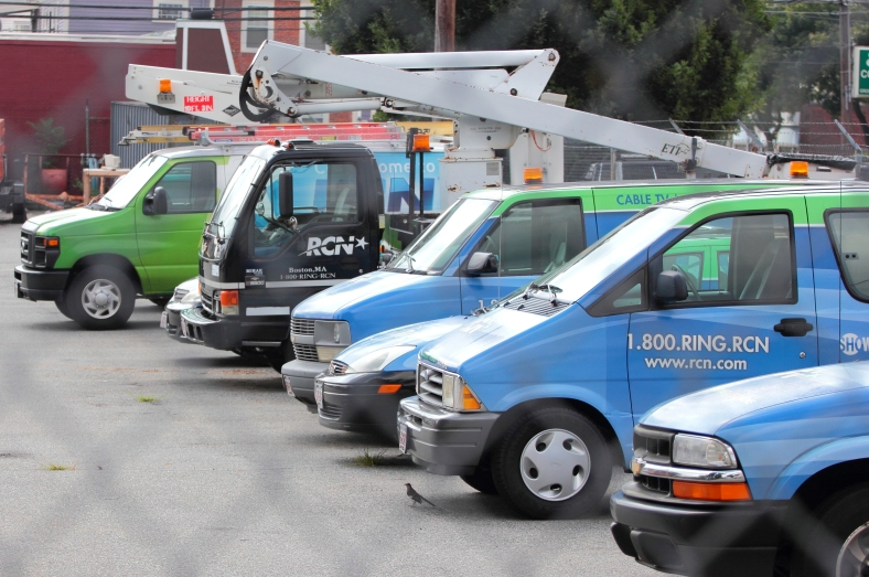 RCN service vehicles in their lot on Massachusetts Avenue. August 10, 2012.