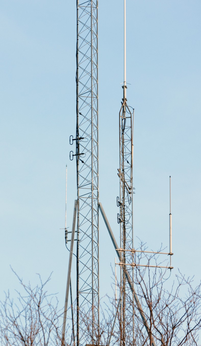 Antennas on top of Arlington's Public Safety Building broadcasting information to police all over town. May 28, 2013.