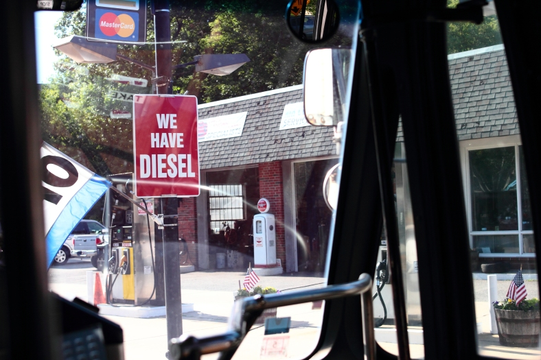 A sign advertising Diesel fuel at the McDermottroe filling station on Summer Street. June 21, 2013.