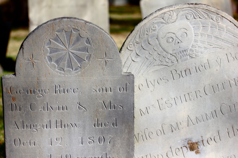 Carvings on headstones in the Old Burying Ground. April 4, 2012.