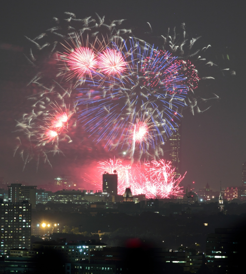 Skyline Park offers a magnificent view of Boston's Fourth of July fireworks show. July 4, 2012.