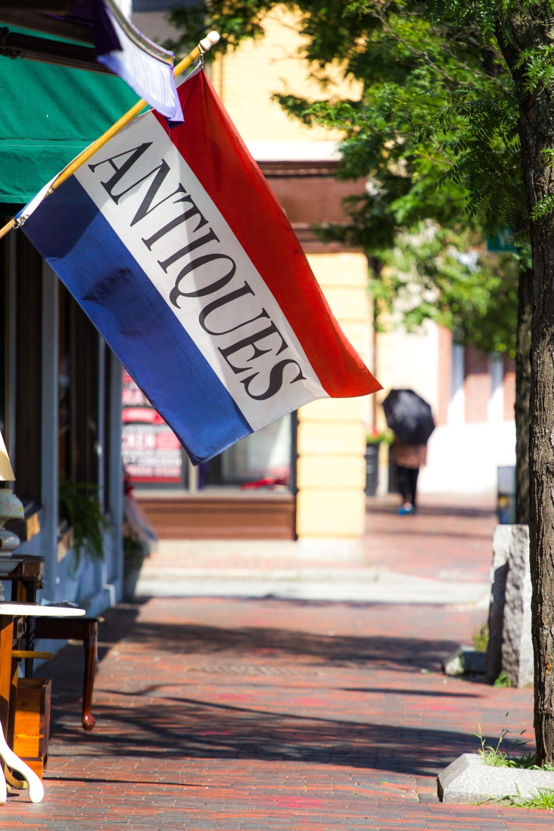 A flag advertising antiques outside the Lena Nargozian Gallery on Massachusetts Avenue. July 5, 2013.
