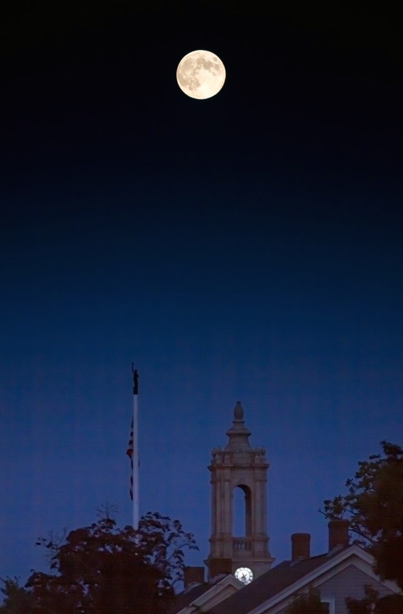 A blue moon rises over Arlington Town Hall. August 20, 2013.