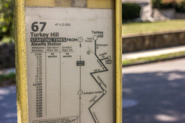 An MBTA route map showing the old Lahey Clinic stop at a bus stop on Washington Street. September 11, 2013.