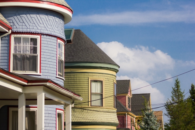 Vibrantly painted houses on Wellington Street. September 12, 2013.