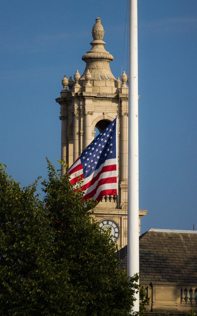 The flag at town hall flies at half-staff in remembrance of September 11th. September 12, 2013.