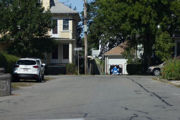A street hockey goal with a practice goalie target in a driveway on Cleveland Street. September 17, 2013.
