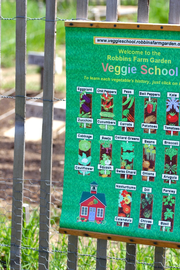 A sign educating non-gardeners of the different vegetables growing in the Robbins Farm Community Garden. April 14, 2012.