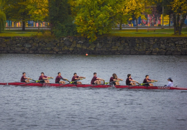 "The Arlington-Belmont Crew boys' novice ""A"" boat out on the Merrimack just lengths away from finishing ninth in a field of 39 at the Textile River Regatta in Lowell. October 6, 2013."